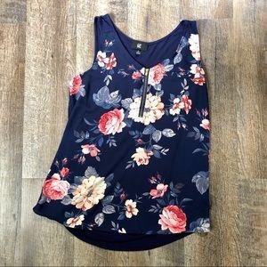 Iz Byer Blue floral sleeveless tank top | S 🌸